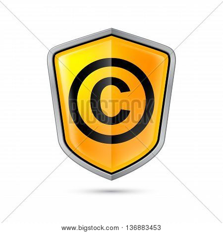 Yellow shield with copyright sign on a white background