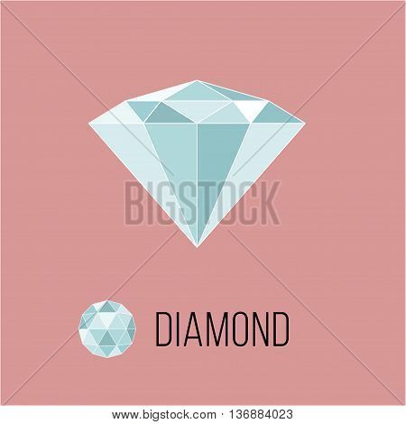 Diamond flat icon with top view. Rich luxury symbol. Brilliant stock vector illustration