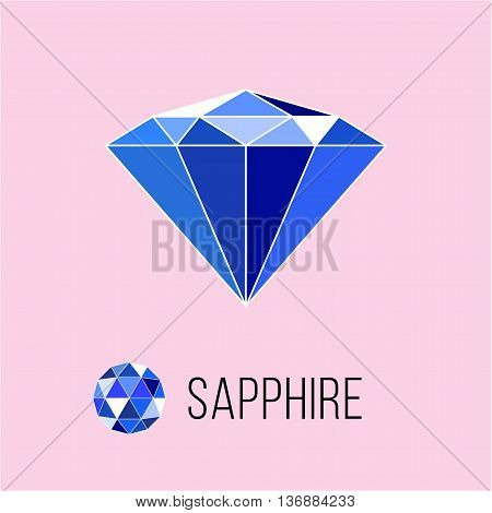 Sapphire flat icon with top view. Rich luxury symbol. Stock vector illustration