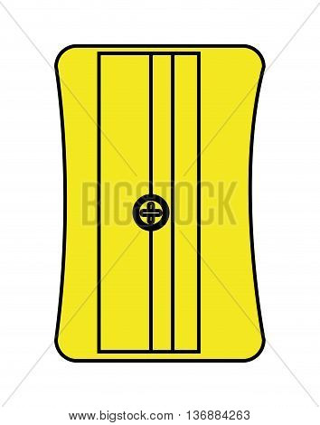 black and yellow pencil sharpener front view over isolated background, vector illustration