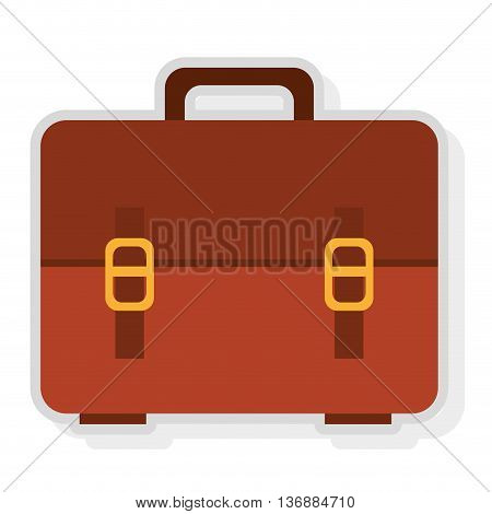 brown and yellow  suitcase bag front view over isolated background, vector illustration