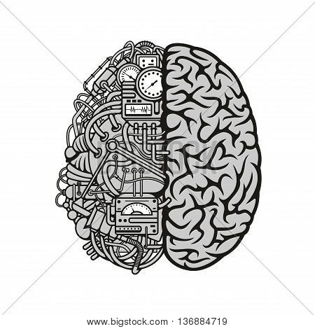 Human machine brain symbol with detailed illustration of combined human brain with automatic computing engine equipments. Great for computer technology and artificial intellect theme or education concept
