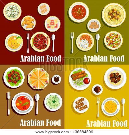 Bright arabian cuisine dishes icons with kebabs, shawarma and chickpea falafels, hummus and soups, rice, vegetable and bread salads with meat stews, nut desserts and sesame pastries with coffee drinks