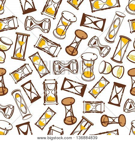 Flow of time background for time concept design with seamless pattern of abstract modern hourglasses and vintage wooden sandglasses with brown and yellow sand