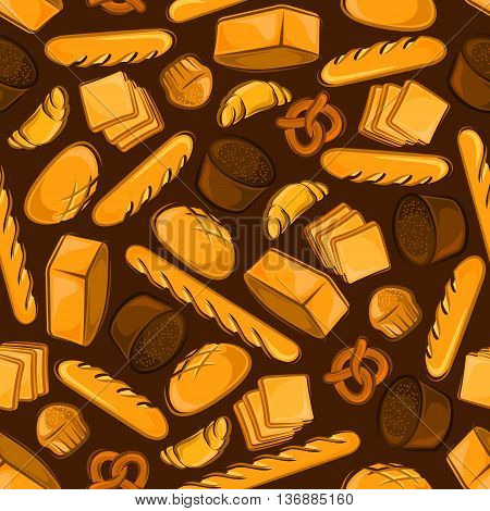 Wholesome fresh bakery products from the brick oven cartoon pattern with seamless illustration of wheat and rye bread loaves, french baguettes and croissants, cupcakes and pretzels on brown background