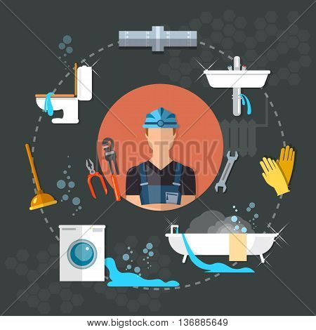 Professional plumber different tools and accessories plumbing repair service vector illustration