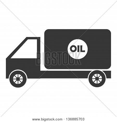 black cargo truck with white circle and writing front view over isolated background, vector illustration