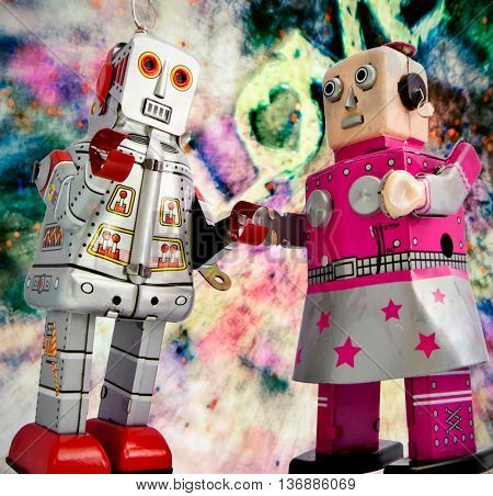 two retro robots together