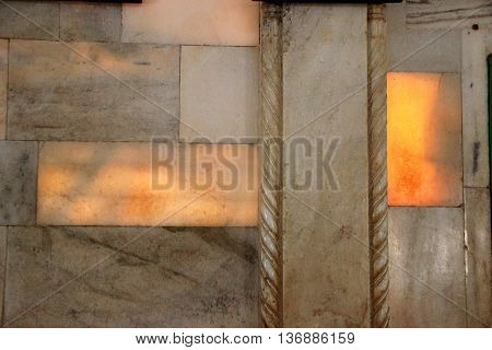 Seeping sunlight through semi-transparent marble slabs viewed from inside of Jaswanth Thada in Jodhpur Rajasthan India Asia