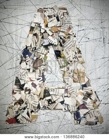 The letter A made from newspaper confetti