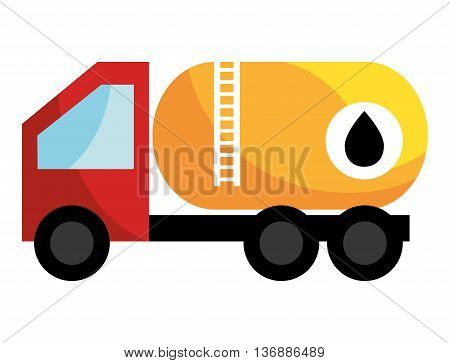 red black and yellow  cargo oil truck side view over isolated background, vector illustration
