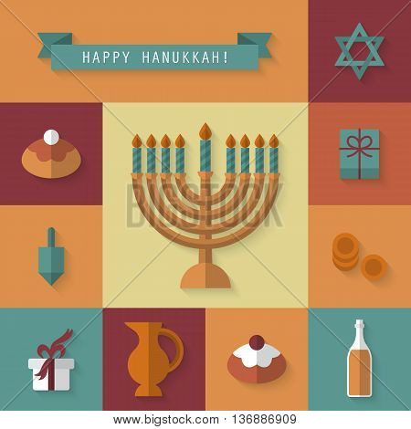 Jewish Hanukkah holiday celebrations flat modern icons