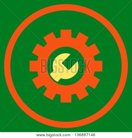 Configuration Tools vector bicolor icon. Image style is a flat icon symbol inside a circle, orange and yellow colors, green background.
