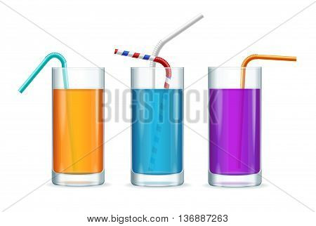 Colorful Cocktail Glasses Set with a Straw Isolated on White Background. Vector illustration