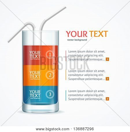 Coctail Glass Text Menu Banner for Reports and Presentations Isolated on White Background. Vector illustration