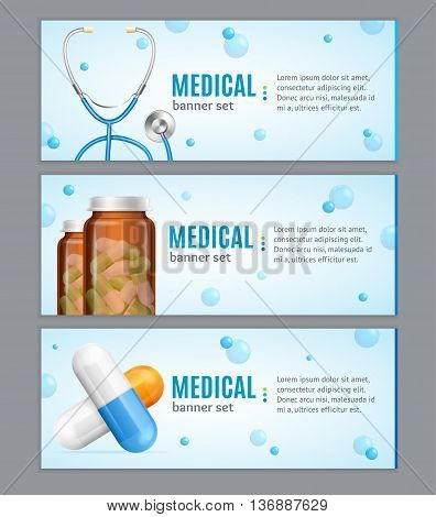 Medical Banner Horizontal Set with Pills and Stethoscope on Grey Background. Vector illustration