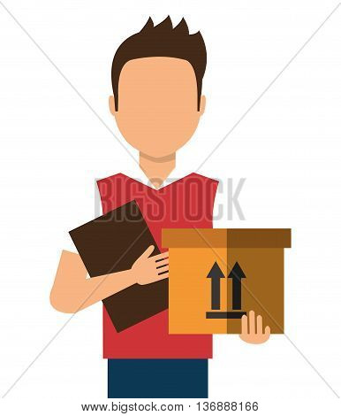 Courier delivering a box colorful cartoon, vector illustration eps10