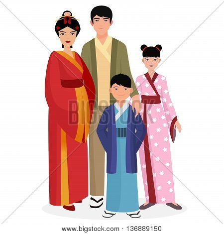 Japanese family. Japanese man and woman with kids in traditional national clothes