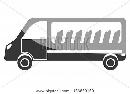 Black van with windows and chairs visible, isolated icon.