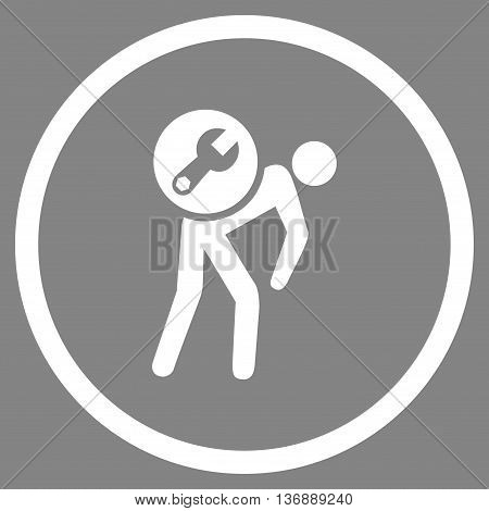 Service Courier vector icon. Image style is a flat icon symbol inside a circle, white color, gray background.