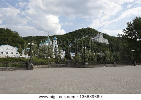 Seversky Donets River Embankment in Svyatogorsk Ukraine. On the opposite bank - Svyatogrskaya Laurus