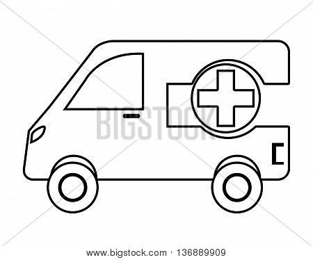 Ambulance emergency vehicle with cross symbol on it, vector illustration.