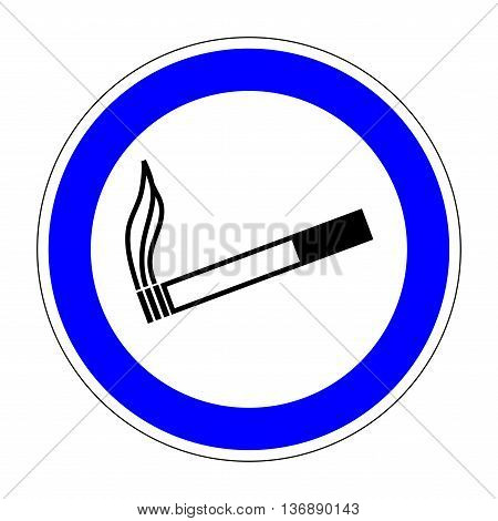 Sign place for smoking. Flat symbol for smoker. Modern art scoreboard. Allowed smoke graphic image. Plane mark in blue circle on white background. Permission figure. Stock vector illustration