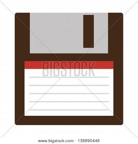 Classic diskette from 90s isolated icon on white background, vector illustration.