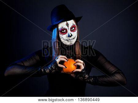 Sugar Skull Girl With Pumpkin