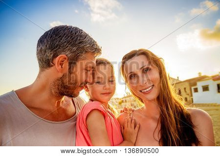 family enjoying summer travel in south