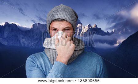 winter cold infect man portrait