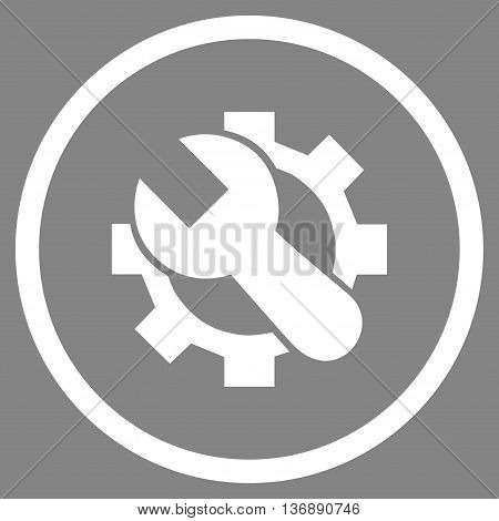 System Setup vector icon. Image style is a flat icon symbol inside a circle, white color, gray background.