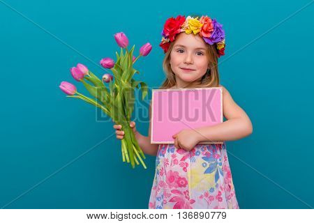 girl with flowers and copyspace advertising