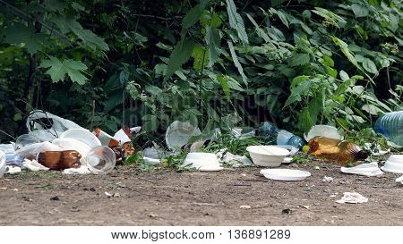 Dump garbage in the forest. The concept of environment ecology recycling pollution