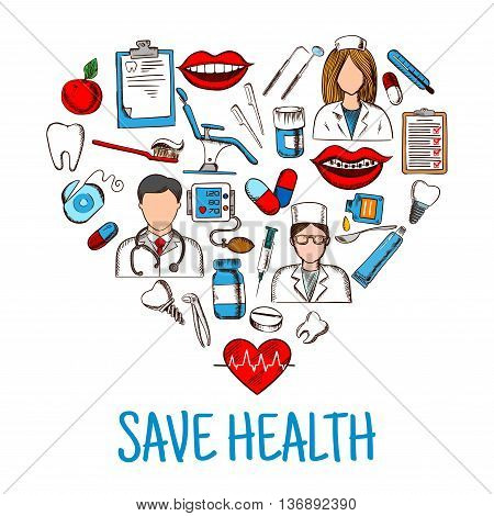 Colored sketches of dentist, nurse and physician with stethoscope and thermometer, medicines and syringes, healthy heart and teeth, dentist chair and tools, blood pressure monitor and medical check up forms, toothbrush and floss icons create a heart