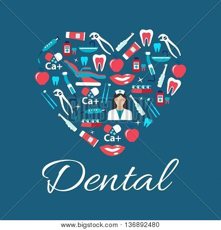 Dental treatments and oral hygiene concept sign with heart symbol consist of dentist with tools and equipments, teeth and braces, syringes and calcium, toothbrushes, toothpastes and mouthwashes flat icons
