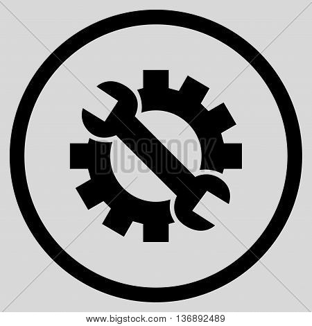 Configuration Tools vector icon. Image style is a flat icon symbol inside a circle, black color, light gray background.