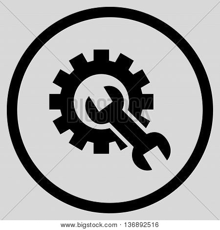 Hardware Maintenance vector icon. Image style is a flat icon symbol inside a circle, black color, light gray background.