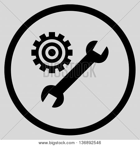 System Setup vector icon. Image style is a flat icon symbol inside a circle, black color, light gray background.