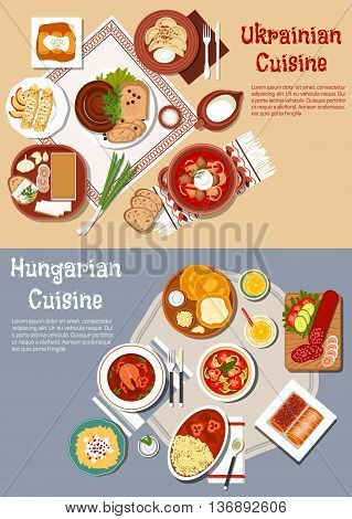 National cuisine of Ukraine and Hungary with flat symbols of rye and flat bread with cheese, fatback and sausages, borscht and fish soup, cabbage rolls, egg noodles and dumplings, pancakes and stove cakes with lemonade and milk