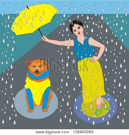 Illustration good girl wet in the rain holding an umbrella over her dog, the dog is not in a hurry, dog was satisfied