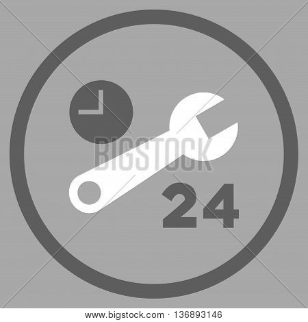 Nonstop Service Hours vector bicolor icon. Image style is a flat icon symbol inside a circle, dark gray and white colors, silver background.