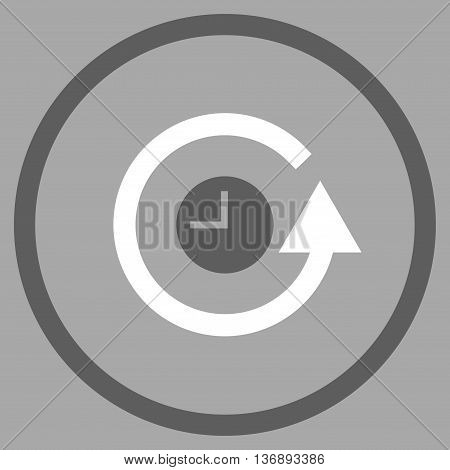 Restore Clock vector bicolor icon. Image style is a flat icon symbol inside a circle, dark gray and white colors, silver background.