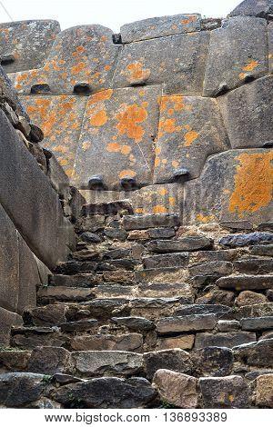 Famous Ollantaytambo pre-Columbian Inca site in Cusco region Peru