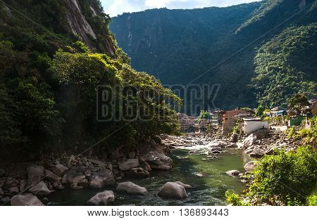 Aguas Calientes the town and railway station at the foot of the sacred Machu Picchu mountain Peru