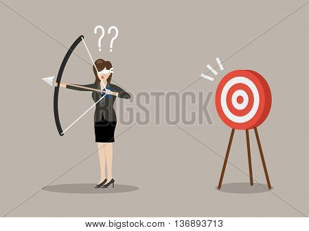 Blindfold business woman look for target in wrong direction. Business concept