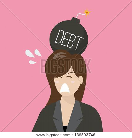 Business woman with debt bomb on her head. Business risk concept