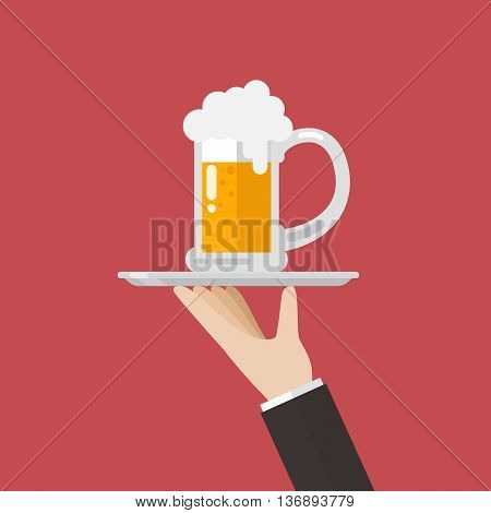 Waiter serving a glass of beer. Flat style design vector illustration