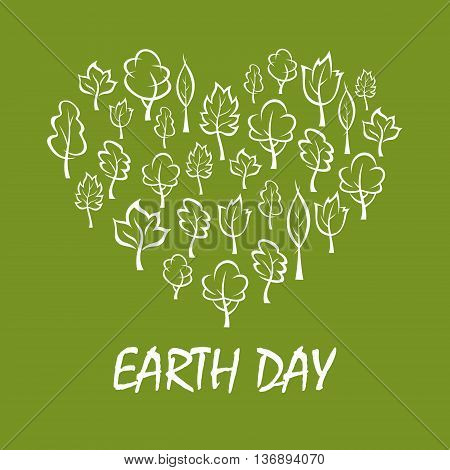 Green trees and plants arranged into a shape of heart symbol with caption Earth Day below. Concept illustration for save earth and eco friendly theme design