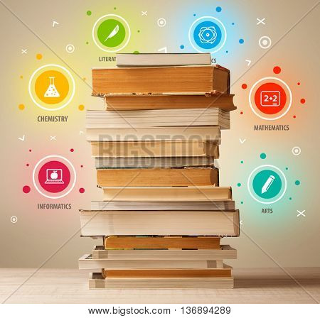 Books on top with colorful symbols on vintage old background
